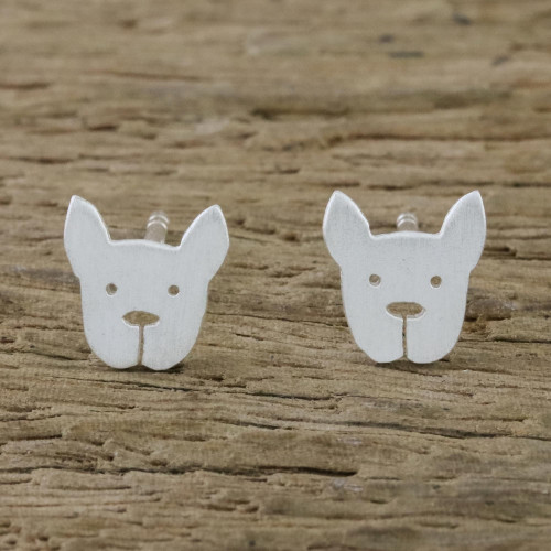 Sterling Silver French Bulldog Stud Earrings from Thailand 'French Bulldog'