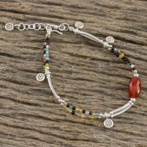 Chalcedony and Agate Beaded Charm Bracelet from Thailand 'Karen Colors'