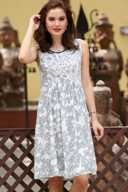 Viscose Dress with Printed Vine Motifs in Azure from India 'Azure Vines'