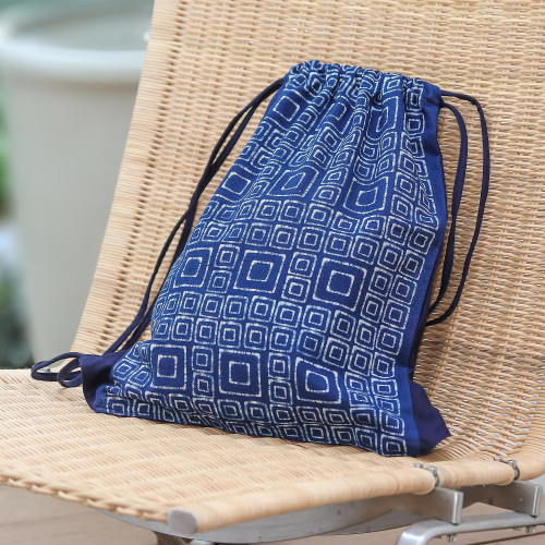Indigo Blue Batik Cotton Square Motif Drawstring Backpack 'Indigo Maze'