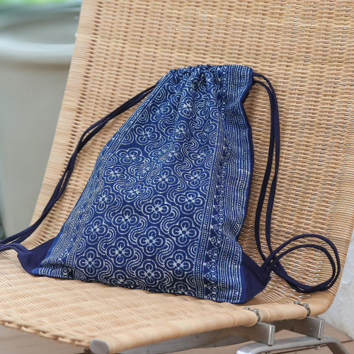 Indigo Batik Cotton Arc and Flower Motif Drawstring Backpack 'Garden Paths'