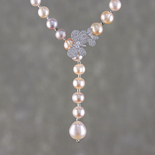 Cultured Pearl Butterfly Y-Necklace from Thailand 'Beautiful Butterfly'
