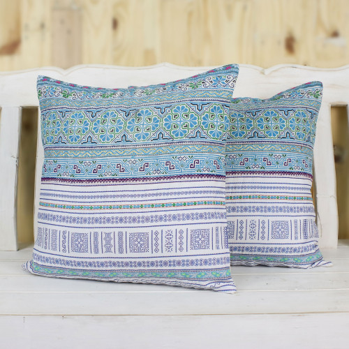 Cotton Blend Cushion Covers Woven by Hmong Artisans Pair 'Hmong Sky'