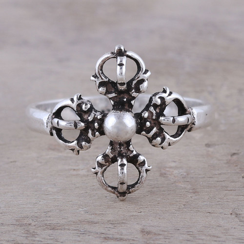 Sterling Silver Openwork and Dot Motif Flower Cocktail Ring 'Compass Rose'