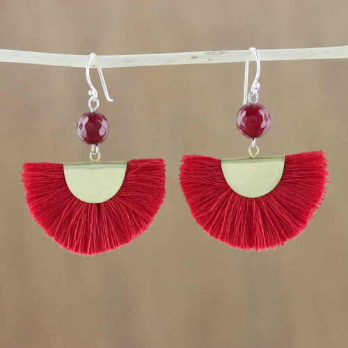 Quartz and Brass Bead Dangle Earrings with Cotton Fringe 'Festival in Red'