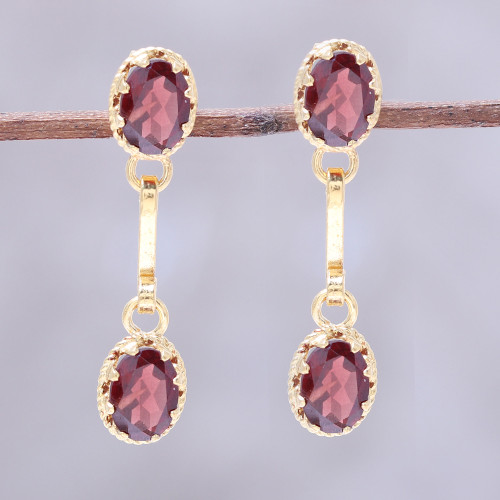 Gold Plated Garnet Dangle Earrings from India 'Dazzling Twins'