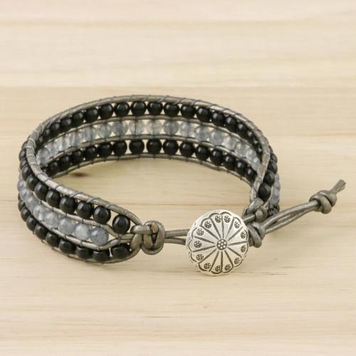 Onyx Quartz Bead and Karen Silver Button Wristband Bracelet 'Midnight Clouds'