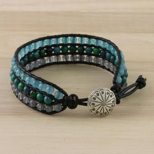 Quartz Serpentine and Karen Silver Button Wristband Bracelet 'Horizon at Sea'