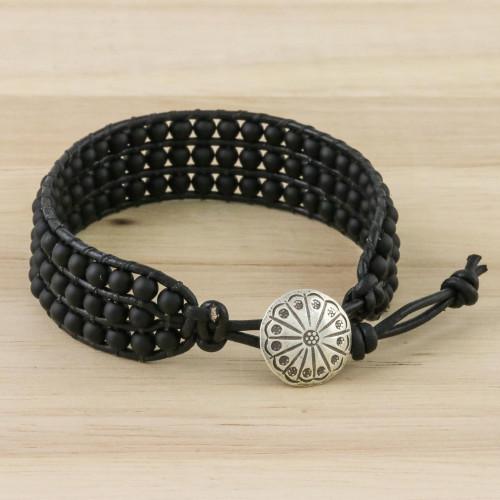 Matte Black Bead and Karen Silver Button Wristband Bracelet 'In The Shadows'
