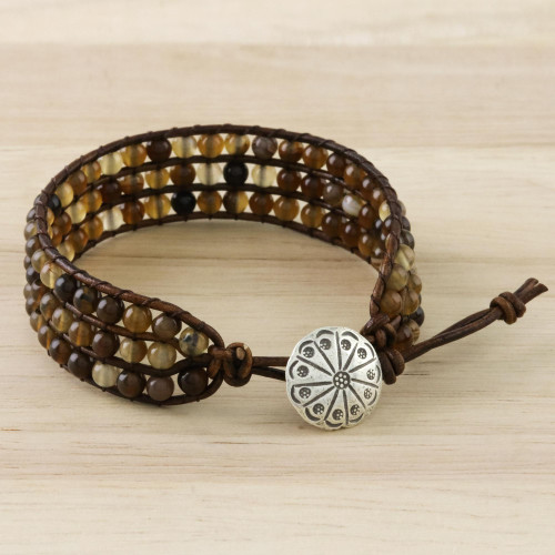 Agate Bead and Karen Silver Button Wristband Bracelet 'Toffee'