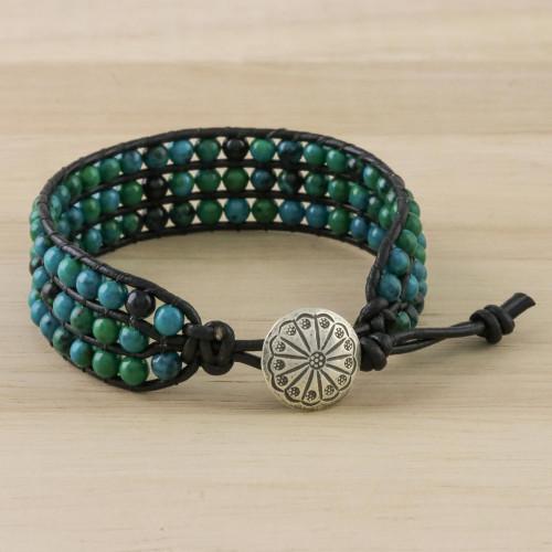 Serpentine Bead and Karen Silver Button Wristband Bracelet 'Lagoon Depths'
