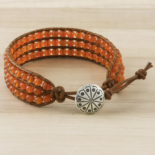 Carnelian Bead and Karen Silver Button Wristband Bracelet 'Sunlit Dawn'