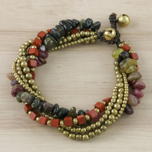 Jasper and Tourmaline Torsade Bracelet from Thailand 'Boho Warmth'