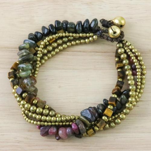 Tiger's Eye and Tourmaline Torsade Bracelet from Thailand 'Boho Cool'