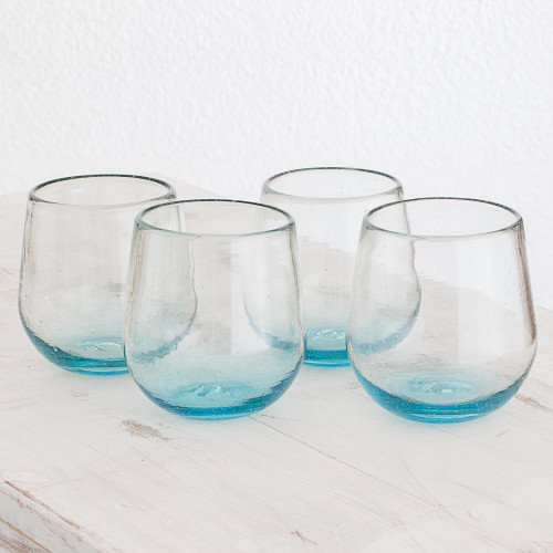 Set of Four Recycled Glass Stemless Wine Glasses in Blue 'Glistening Sea'