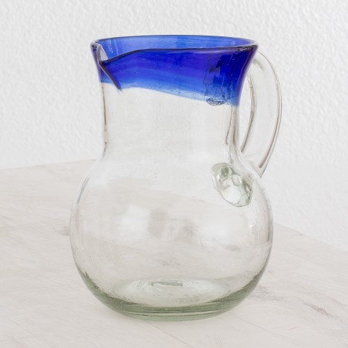 Handblown Recycled Glass Pitcher in Blue from Guatemala 'Sky Reflection'