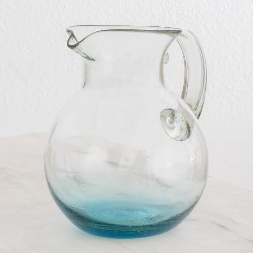 Handblown Recycled Glass Pitcher from Guatemala 'Glistening Sea'