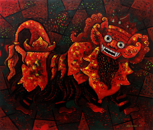 Signed Expressionist Painting of Barong from Java 'Balinese Barong'