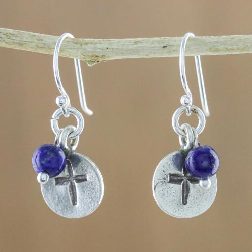 Lapis Lazuli Cross Dangle Earrings from Thailand 'Subtle Cross'