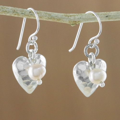 Cultured Pearl and Silver Heart Earrings from Thailand 'Fabulous Hearts'