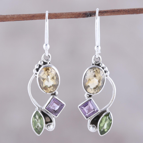 Citrine Amethyst Peridot and Sterling Silver Dangle Earrings 'Sun with Violets'