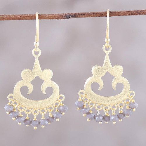 22k Gold Plated Chalcedony Chandelier Earrings from India 'Glittering Bliss'