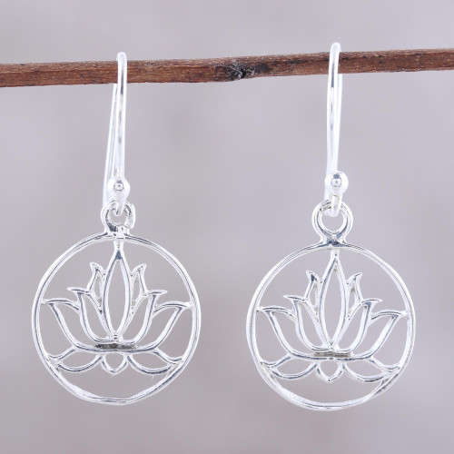 Sterling Silver Lotus Dangle Earrings from India 'Delightful Lotus'