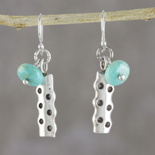 Amazonite and Karen Silver Modern Earrings from Thailand 'Cool Modernity'