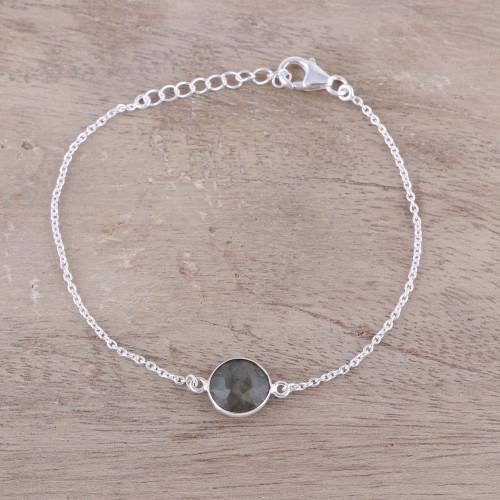 Adjustable Labradorite Pendant Bracelet from India 'Mesmerizing Night'