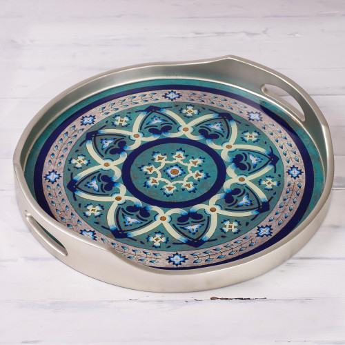 Silver-Tone Reverse-Painted Glass Tray from Peru 'Floral Intricacy in Silver'