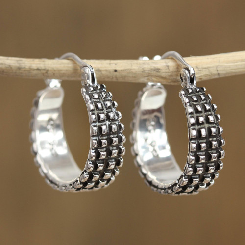 Combination Finish Sterling Silver Hoop Earrings from Mexico 'Ebbing Light'