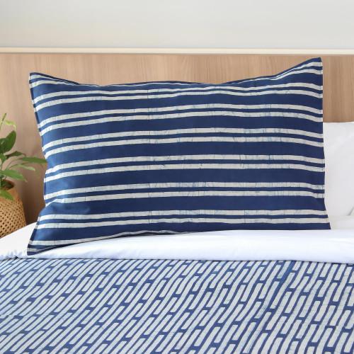 Striped Batik Cotton Pillow Sham from Thailand 'Simply Striped'
