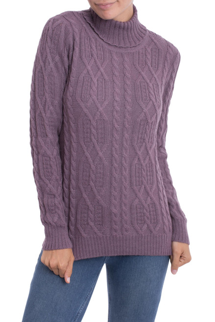 Knit 100 Alpaca Pullover in Dusty Lilac from Peru 'Dusty Lilac Charm'