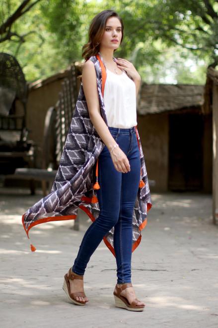 Black Grey and Orange Sleeveless Ikat Print Kimono Jacket 'Magical Bliss'