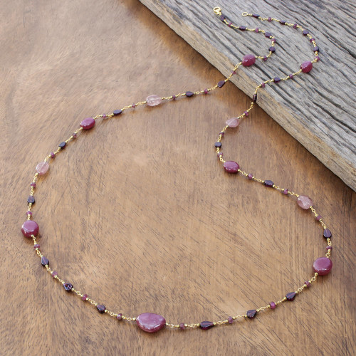 Gold Plated Multi-Gemstone Long Station Necklace 'Chiang Mai Station'