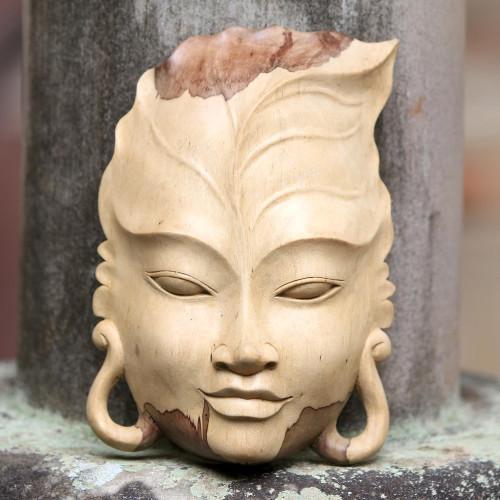 Hand Carved Leaf Design Balinese Hibiscus Wood Mask 'Forest Gaze'
