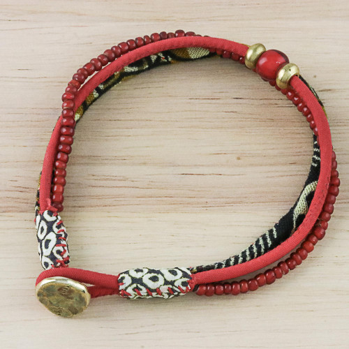 Cotton and Glass Beaded Eclectic Boho Fabric Bracelet in Red 'Raging Red'