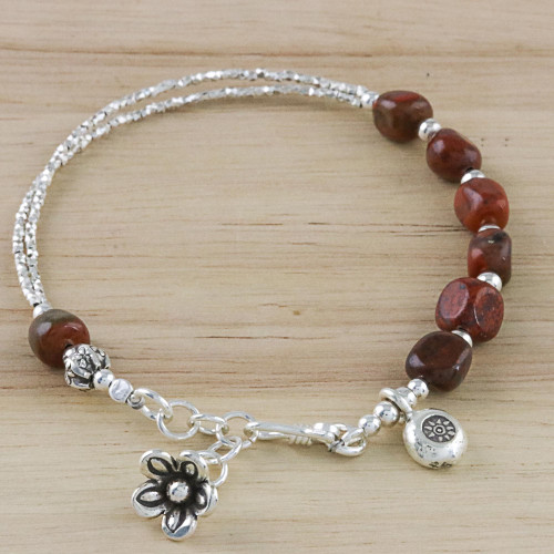Hill Tribe Silver and Red Jasper Beaded Charm Bracelet 'Red Garden'