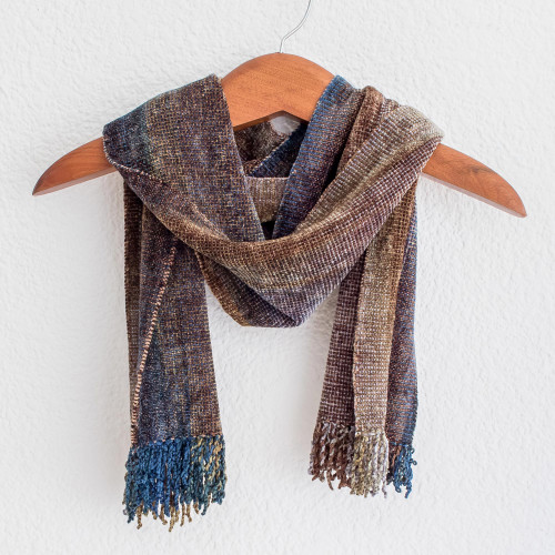 Earth-Tone Rayon Chenille Scarf from Guatemala 'Paths'