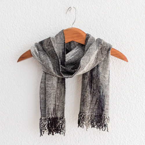 Handwoven Grey Rayon Chenille Scarf from Guatemala 'Infinite Universe'