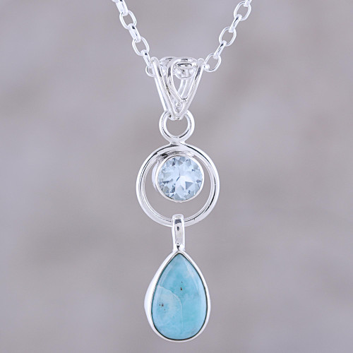Larimar and Blue Topaz Pendant Necklace from India 'Gleaming Daylight'