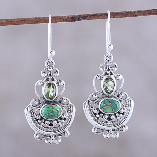 Peridot and Green Composite Turquoise Earrings from India 'Green Swing'