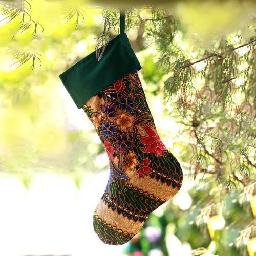 Batik Cotton Stocking in Midnight from Bali 'Parang Holiday'