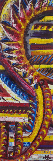 Signed Multicolored Abstract Painting from Ghana 'Energy'