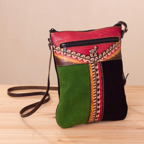 Llama-Themed Multicolored Leather Sling from Peru 'Cusco Traveler'