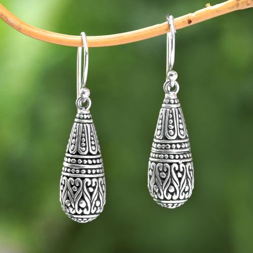 Drop-Shaped Sterling Silver Dangle Earrings from Bali 'Dragon Tears'
