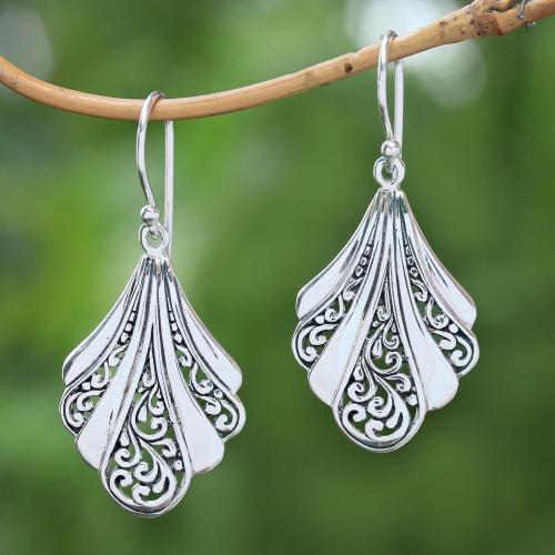 Sterling Silver Shell Dangle Earrings from Bali 'Vine Shells'