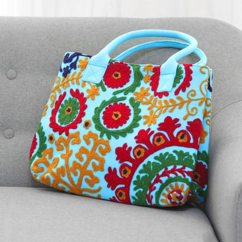 Embroidered Sky Blue Floral Folk Art Cotton Handbag 'Folk Art Florals'
