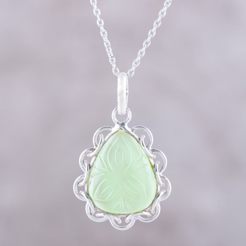 Leaf Motif Chalcedony Pendant Necklace from India 'Lovely Drop'