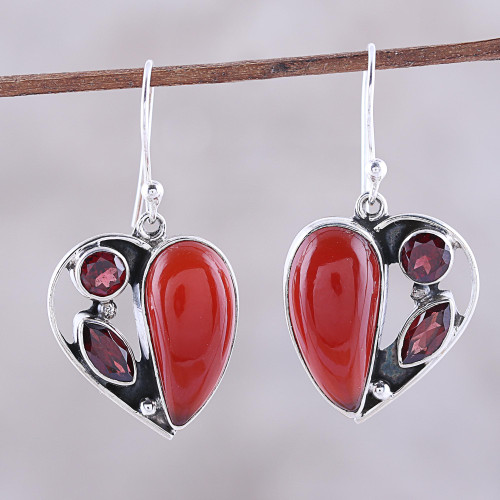 Carnelian and Garnet Heart Earrings from India 'Red Hearts'